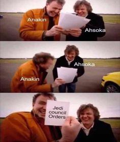 Star Wars Rebels, Star Wars Clone Wars, Star Wars Art, Star Trek, Ahsoka Tano, Stupid Funny Memes, Funny Relatable Memes, Prequel Memes, Star Wars Jokes