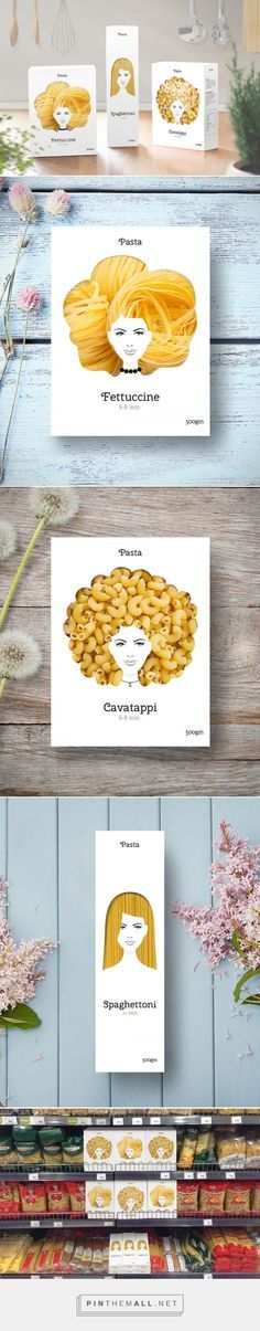 What a good hair day for Pasta! Packaging Designer: Nikita (Russia) - http://www.packagingoftheworld.com/2016/03/good-hair-day-pasta-concept.html