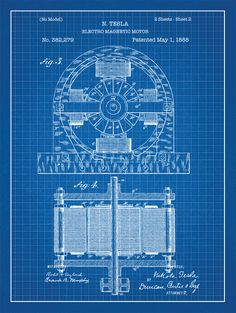 Tesla Electro Magnet patent print on blue graph paper background