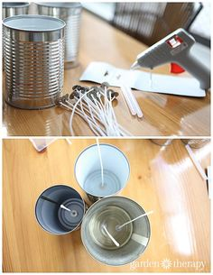 Make tin can citronella candles. When the wax is melted it's time to add the fragrance. Add 1 oz of citronella oil per pound of wax and augment the scent with 0.5 oz of other scents per pound.DIY Candles in Cans Turorial Step 2 via Garden Therapy