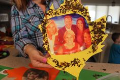 Fall Fun: #Kids Crafts - A leaf cut out with a photo of the #News12LI Morning show team and decorated with real crumpled leaves - Crafted by Mommy Blogger, Anne Caminiti #FallFun #LongIsland #Leafs #Crafts #Art