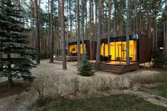 Over in the Poltava region of Ukraine, a cluster of modern cabins by local studio YOD Design Lab have been erected in a pine forest, the site of a retreat complex called Relax Park Verholy. Architecture Design, Sustainable Architecture, Forest House, Forest Floor, Pine Forest, Design Lab, Pop Design, Sketch Design, Design Concepts
