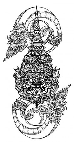 Tattoo Art Thai Snake And Giant Literature Hand Drawing Sketch - Tattoo art thai snake and giant literature hand drawing sketch Premium Vector Cambodian Tattoo, Khmer Tattoo, Cambodian Art, Thailand Tattoo, Thailand Art, Thai Tattoo, Buddha Tattoos, Body Art Tattoos, Tatuaje Khmer