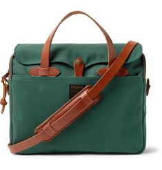 This forest-green briefcase is crafted from Filson's industrial-strength 'Rugged Twill' that's resistant to water and wear. Sized to meet airline carry-on requirements, it's trimmed with resilient bridle leather and has a spacious interior that's fitted with three handy compartments. Use the detachable shoulder strap to go hands-free. Briefcase For Men, Leather Briefcase, Hermes Birkin, Hermes Kelly, Leather Men, Shoulder Strap, Briefcases, Laptop Bags, Messenger Bags