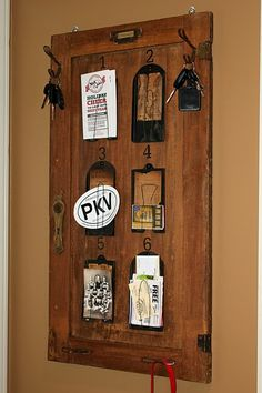 love this memo board idea out of an old cabinet door and other hardware items.