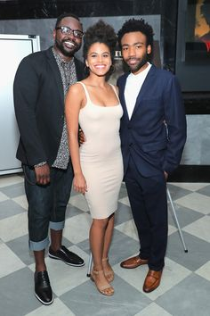 "(L-R) Brian Tyree Henry, Zazie Beetz and Donald Glover attend the ""Atlanta"" New York Screening at The Paley Center for Media on August 23, 2016 in New York City. - 'Atlanta' New York Screening"