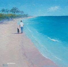 Beach Painting 'Beach Stroll' Original Oil Painting by Jan Matson