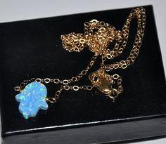 Hamsa Necklace Gold Opal Necklace  Blue Opal  by jewelrybyirina