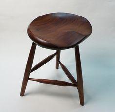 Furniture, Black Walnut Tripod Stool 18 Large for guitar by garnydesigns, $650.00
