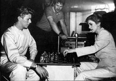 lovedavidbowie:  David Bowie playing chess.