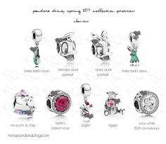 Pandora Disney Spring 2017 Preview. The Belle's Radiant Rose charm features openwork floral detailing on its side. Mrs. Pott's and Chip. And a Beauty and the Beast bangle.