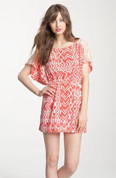 Romeo & Juliet Couture Printed Lace Yoke Dolman Dress