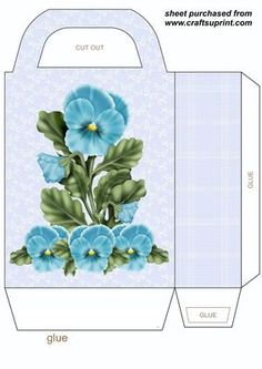 Blue pansy gift bag on Craftsuprint designed by Stephen Poore -