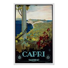 Italy Gifts - T-Shirts, Art, Posters & Other Gift Ideas. Capri Italy Vintage Travel Poster.