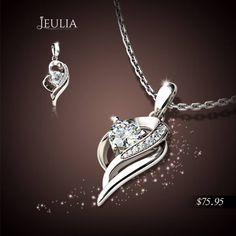 Jeulia Design Round Cut White Sapphire Necklace #jeulia