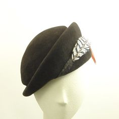 Beret Felt Hat for Women in Dark Brown with Feather - The Millinery Shop #millinery #beret #judithm
