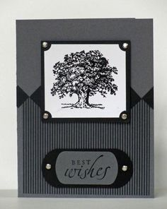 """By Lisa Trombitas. Uses stamp from Stampin' Up """"Lovely as a Tree"""" set. The diamonds are just 1/2"""" squares tilted."""