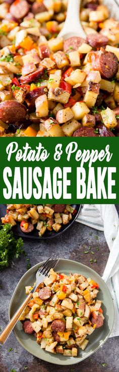 Potato, Pepper, and Sausage Bake is one of our favorite hearty meals! hot, filling, and delicious! #potatoandpeppersausagebake #heartybreakfast #breakfast #potatobreakfast