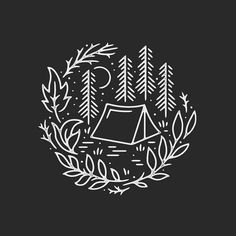 Line art tattoo illustration draw 24 new Ideas Design Art, Logo Design, Graphic Design, Typographie Logo, Camping Drawing, Natur Tattoos, Arte Sketchbook, Oeuvre D'art, Blackwork