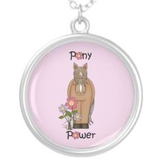Pony Power Palomino - Pink Personalized Necklace