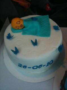 Baby shower boy cake fondant  Dreng barnedåbskage