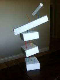 Styrofoam and plastic toothpicks sculpture