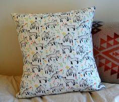 cushion in fox floral fabric by Sian Keegan