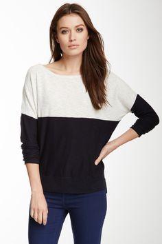 Vince Colorblock Slub Knit Sweater