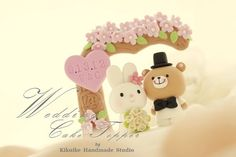 Handmade lovely rabbit and bear with love flower tree by kikuike, $180.00
