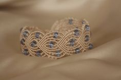 Macrame bracelet with blue crystals by NinaKJewellery on Etsy