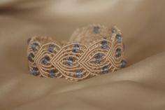 Macrame bracelet with blue crystals by NinaKJewellery on Etsy