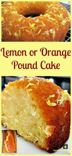 Moist Lemon or Orange Pound / Loaf Cake. Loaf or bundt pan, you choose! - Food And Drink For You Lemon Desserts, Lemon Recipes, Just Desserts, Sweet Recipes, Baking Recipes, Delicious Desserts, Dessert Recipes, Kitchen Recipes, Apple Recipes