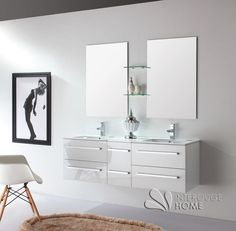 Meuble de salle de bain en bois massif avec double vasque en céramique coloris Blanc Laqué Brillant Double Vanity, Bathroom, Solid Wood, White People, Home, Washroom, Full Bath, Bath, Bathrooms