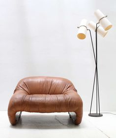 Afra and Tobia Scarpa; Fiberglass and Leather 'Bonanza' Chair for B & B Italia, 1970.
