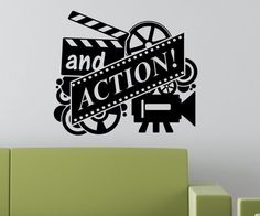 Director Silhouette Cute Pattern With And Action Quotes Wall Stickers Home Art Room Decor Adhesive Funny Wall Decals WM-239