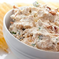 What do bacon, cheddar cheese, cream cheese, sour cream and green onions equal? One heck of a party dip.