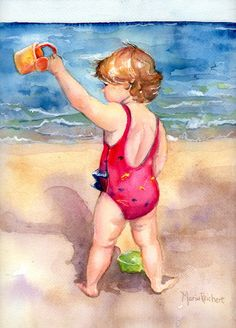 beach girl painting on the beach in watercolor art Happy Day. $225.00, via Etsy.