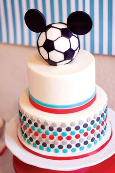 Blue  Red Mickey Mouse Soccer Party