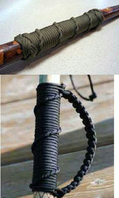 Paracord on the walking stick- A Long-Term Survival Guide - 101 Uses Camping Survival, Outdoor Survival, Survival Prepping, Survival Gear, Survival Skills, Wilderness Survival, Survival Videos, Survival Hacks, Survival Quotes
