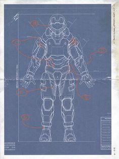 MJOLNIR MK.IV Blueprint Master Chief Cosplay, Halo Cosplay, Powered Exoskeleton, Halo Spartan, Halo Armor, Halo Effect, Red Vs Blue, Nerd Geek, Design Reference