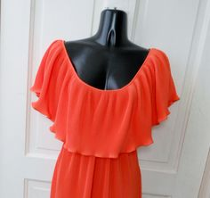 Vintage 70s Prom Dress Pleated Ruffle Butterfly Sleeve Beverly Vogue Party M. $29.99, via Etsy.