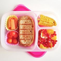Today's Lunch : Grilled Vegan Cheese Sandwich with Organic Homemade Bread / Carrot Sticks / Cherry Tomatoes / Oranges with Pomegranate Seeds / Organic Steamed Corn