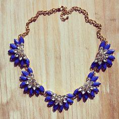 Kate Spade Inspired Blue Statement necklace, bib necklace,