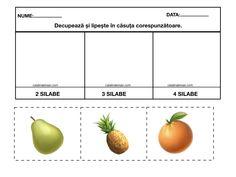 Materiale pentru exersarea despartirii în: o silaba, doua silabe, trei silabe si patru silabe. Color si alb-negru. – Catalina Bîrsan Education, Vegetables, Vegetable Recipes, Onderwijs, Learning, Veggies