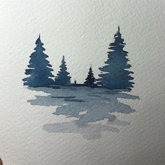 Small watercolor to warm up ^^ It's a rainy day here, perfect to stay at home - Malerei & Kunst Watercolor Trees, Watercolor Cards, Watercolor Landscape, Watercolour Painting, Painting & Drawing, Watercolours, Landscape Art, Easy Watercolor, Landscape Paintings