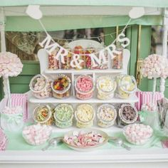 A classic & elegant wedding with pretty pastel details and an incredible pick n&… - Hochzeit ideen Candy Bar Wedding, Wedding Sweets, Wedding Favours, Wedding Ideas, Dessert Wedding, Wedding Shot, Wedding Reception, Wedding Decorations, Sweet Table Wedding