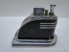Vintage Ronson Touch Tip Cigarette Lighter Art Deco Streamline Chrome w Striker