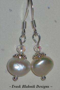 Freshwater Pearl Earrings by MTBDesignsJewelry on Etsy, $15.00