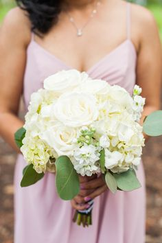 white wedding bouquet - photo by Candice Benjamin Photography http://ruffledblog.com/romantic-california-wedding-in-buena-park