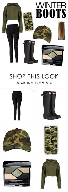 """Winter hunt"" by emmajeancolley ❤ liked on Polyvore featuring Miss Selfridge, Hunter, Casetify, Christian Dior and Boohoo"